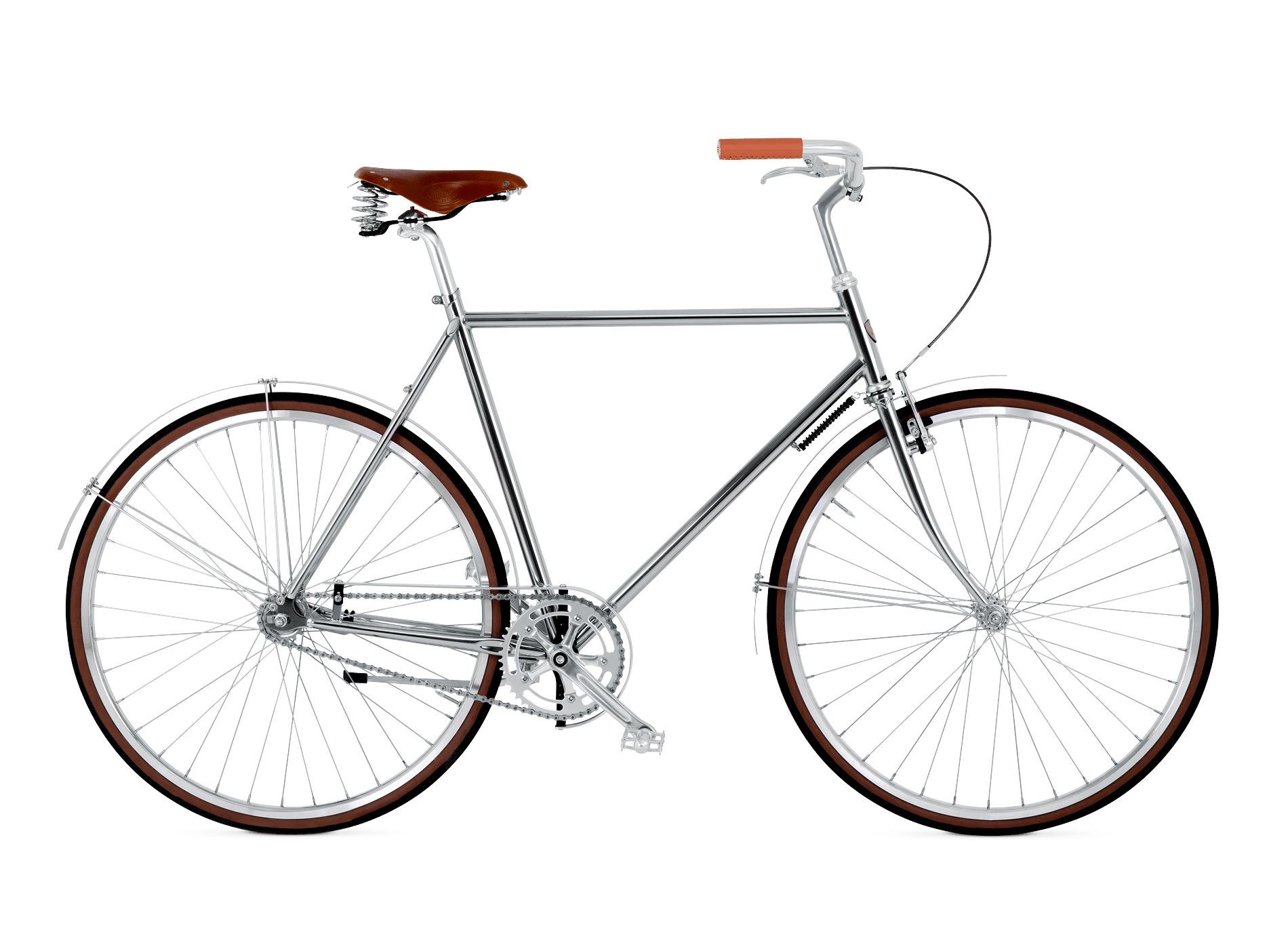 BIKEID Vélo Ville Premium Suédois Majestic Single Speed Chrome