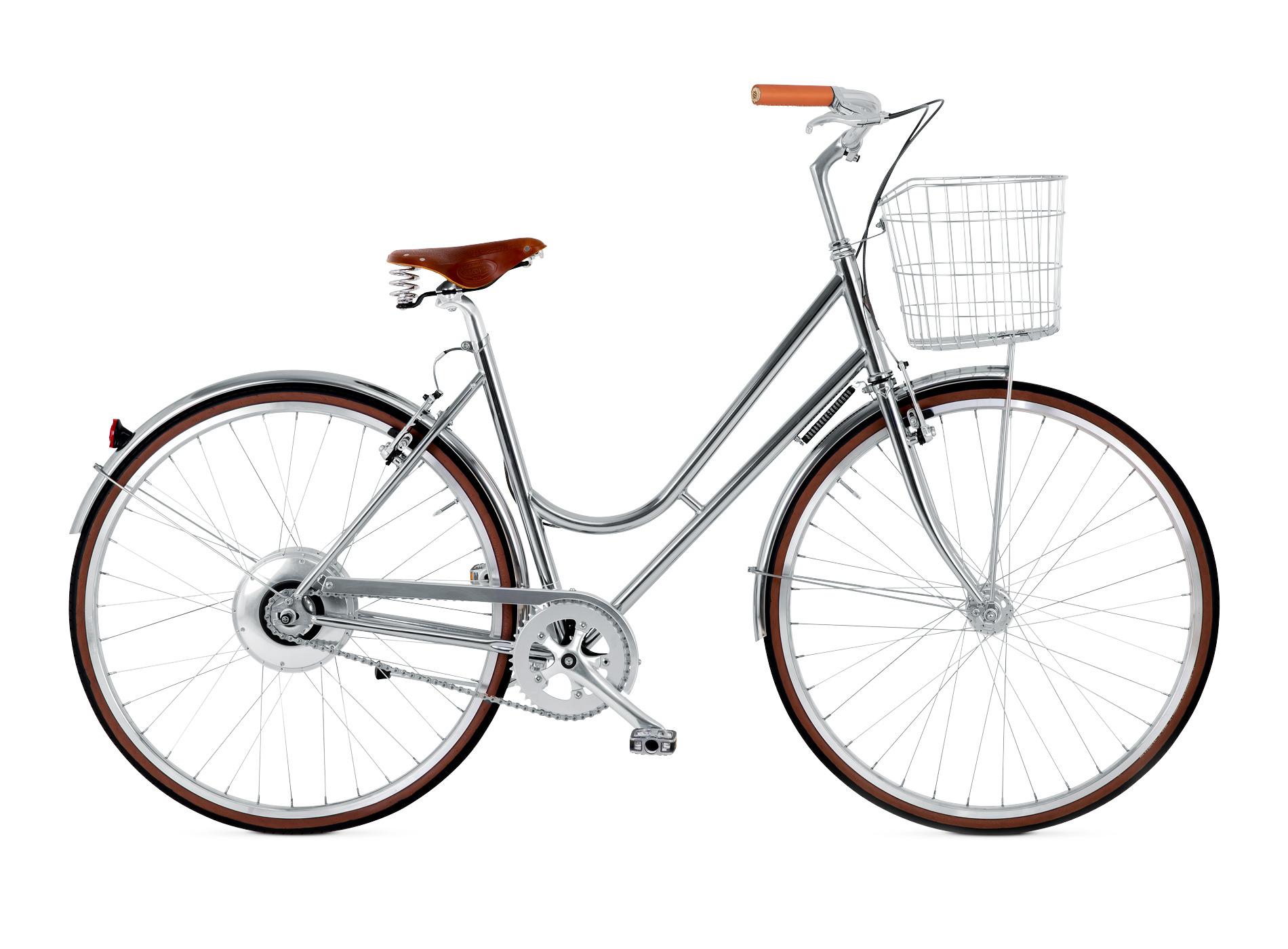 BIKEID Vélo Ville Premium Suédois Step Through Electrique Chrome