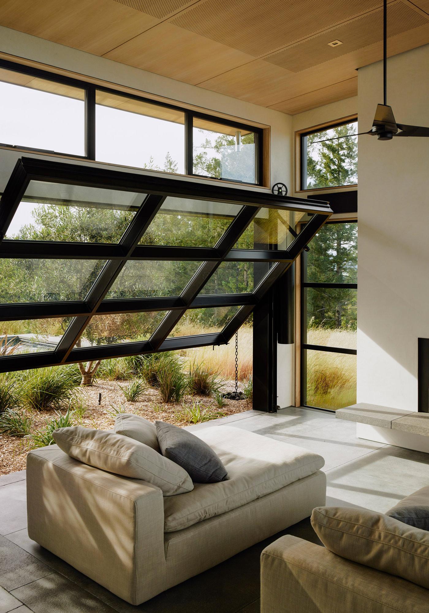 Healdsburg House Sonoma Californie Architecture Salon Fenêtres Pivotantes