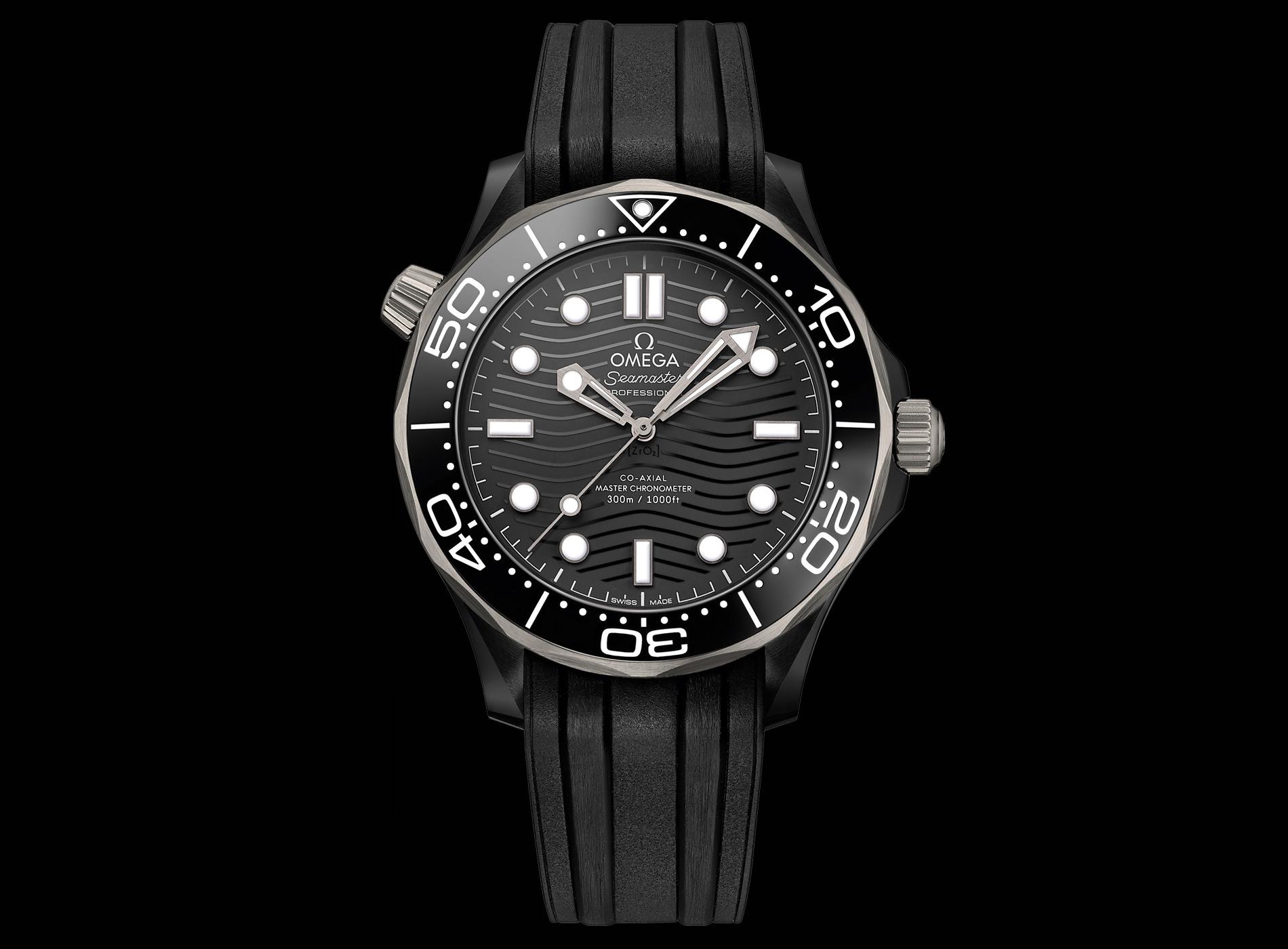 Montre Omega Seamaster Diver 300M Céramique Titanium Bracelet Caoutchouc Fond Noir