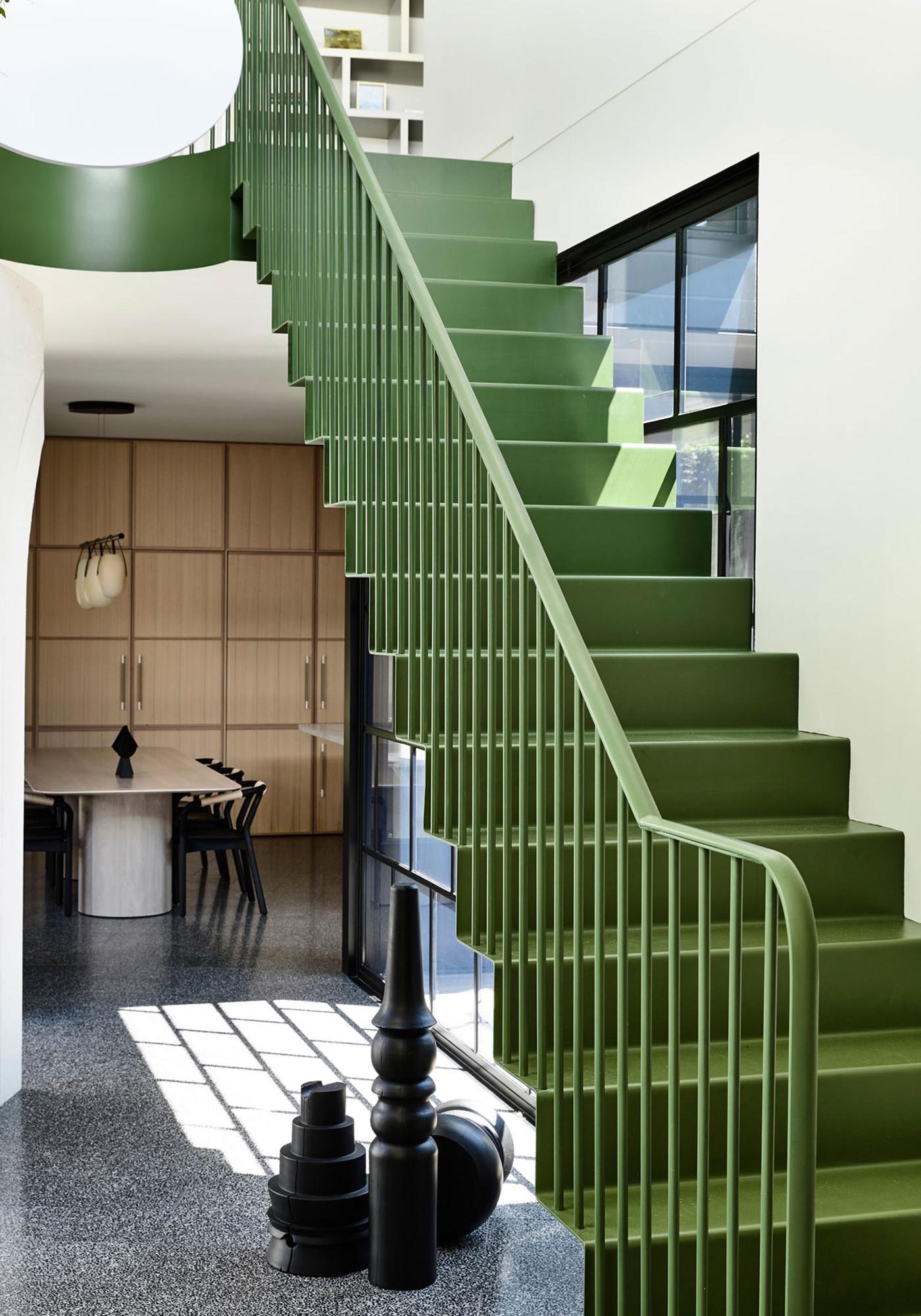 Kennedy Nolan Architects Edwardian Caroline House Melbourne Escalier Métallique Intérieur