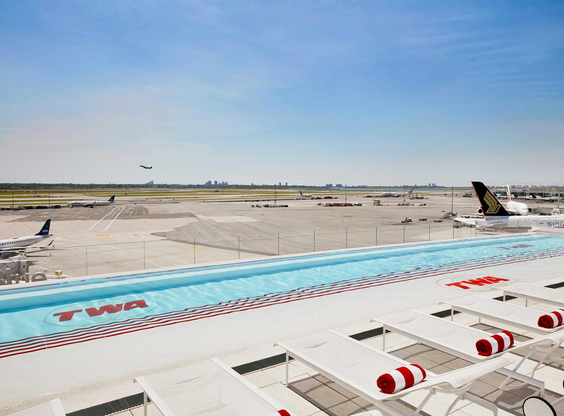 TWA Hotel New York JFK Airport TWA Flight Center Pool Bar Observation Deck