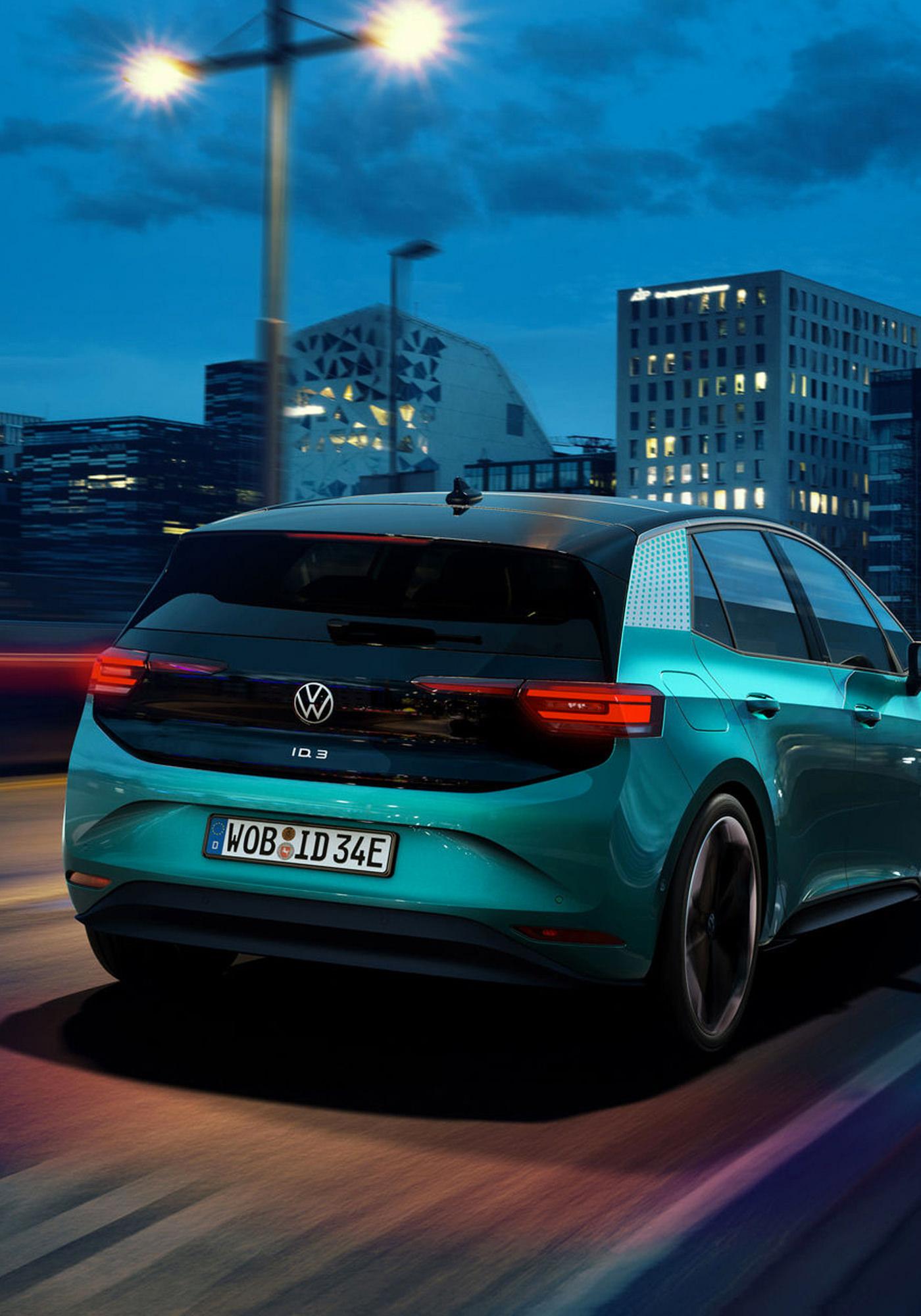 Volkswagen ID.3 Voiture Electrique Trois Quart Arrière Détails