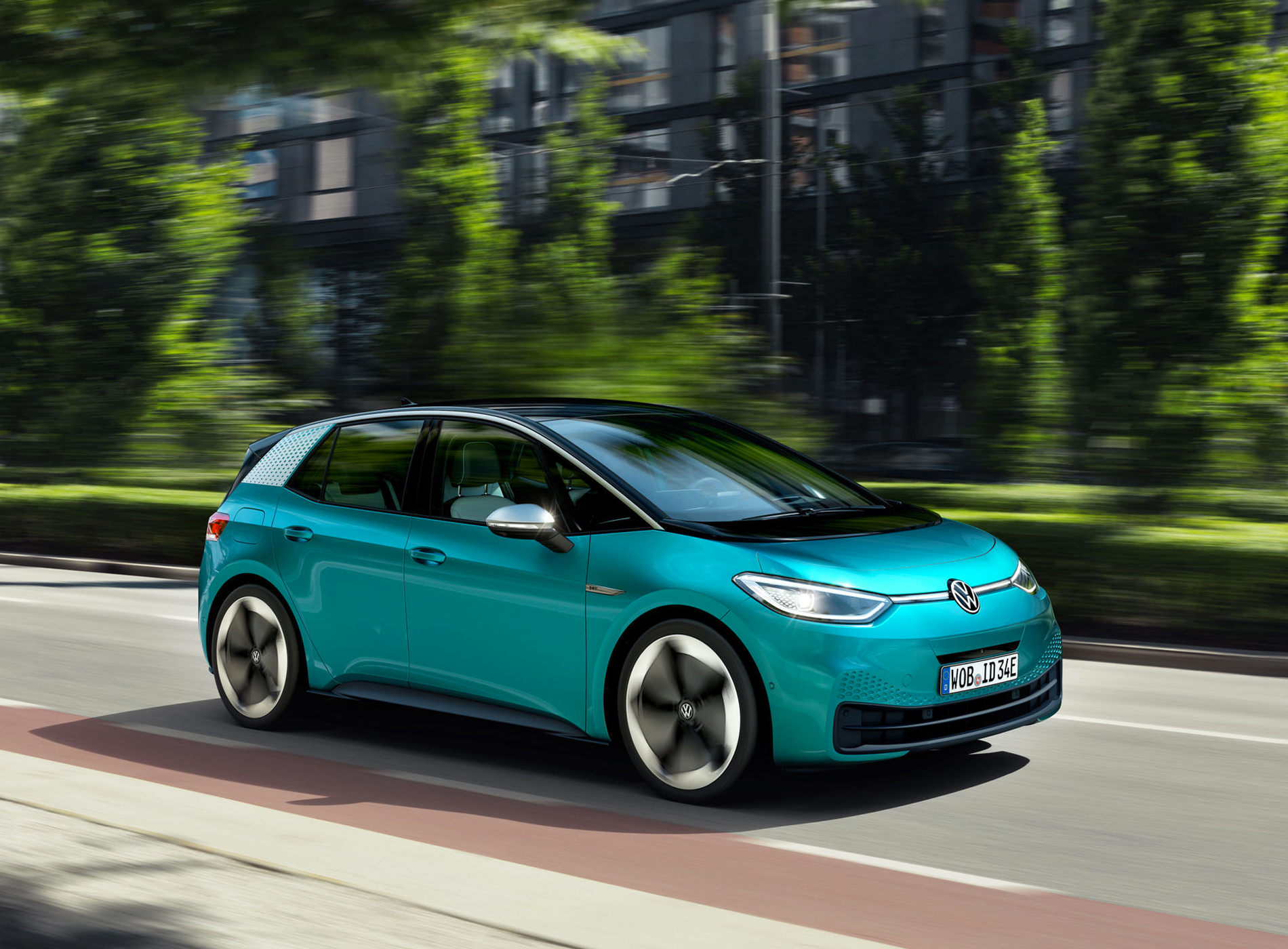 Volkswagen ID.3 Voiture Electrique Trois Quart Avant