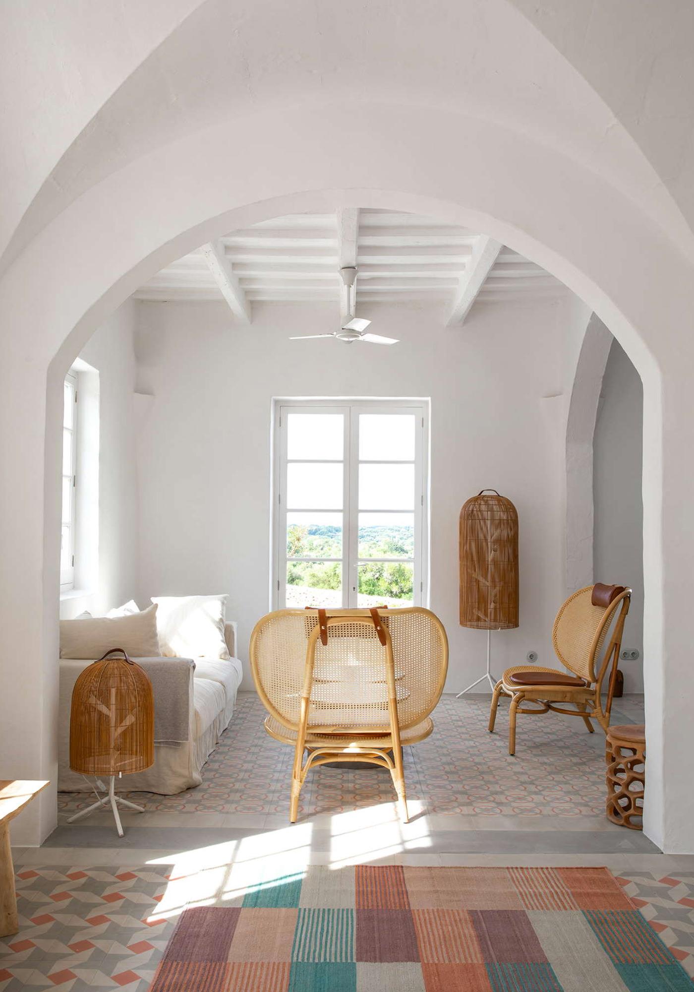 Minorque Baléares Espagne Architecture Location Vacances Es Bec D'Aguila Salon Mobiliers