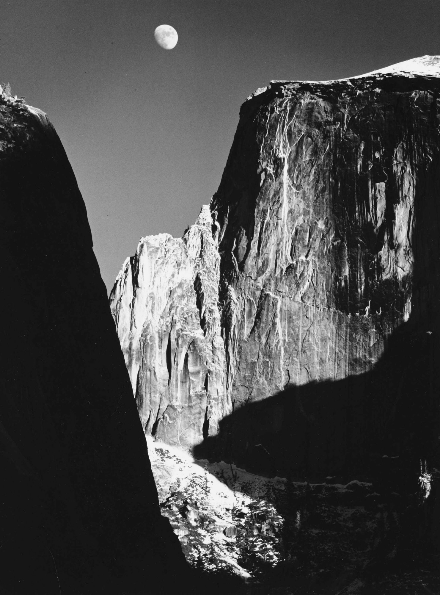 Ansel Adams Moon Half Dome v1960
