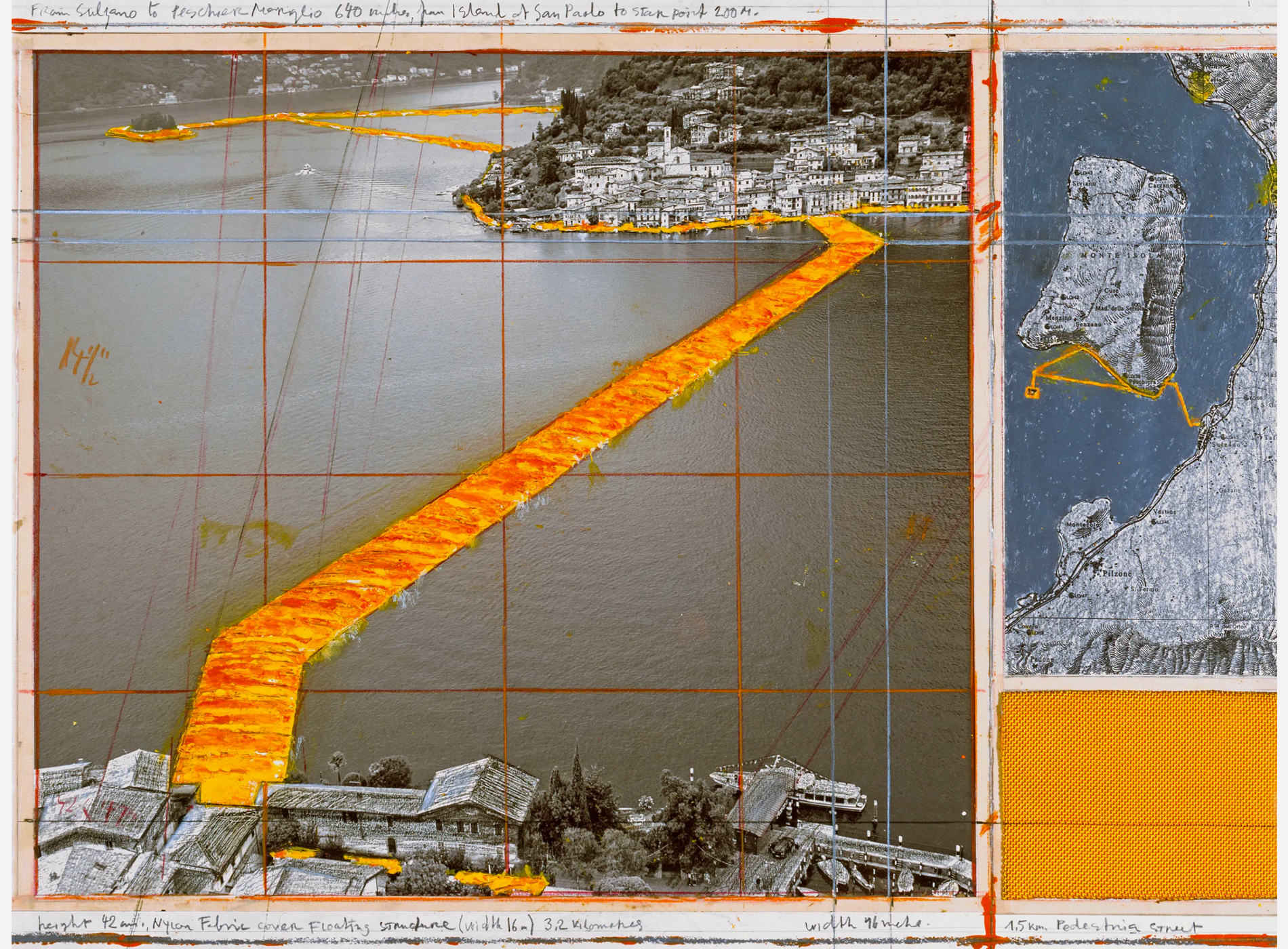 Christo. The Floating Piers, Project for Lake Iseo, Italy, 2014