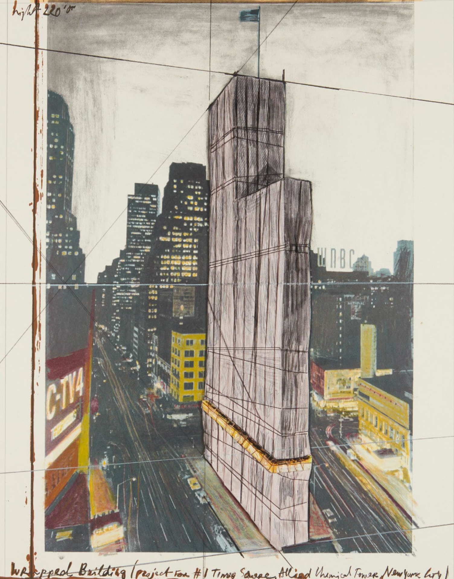 christo. Wrapped Building, Project for #1 Times Square, Allied Chemical Tower, New York, 1991