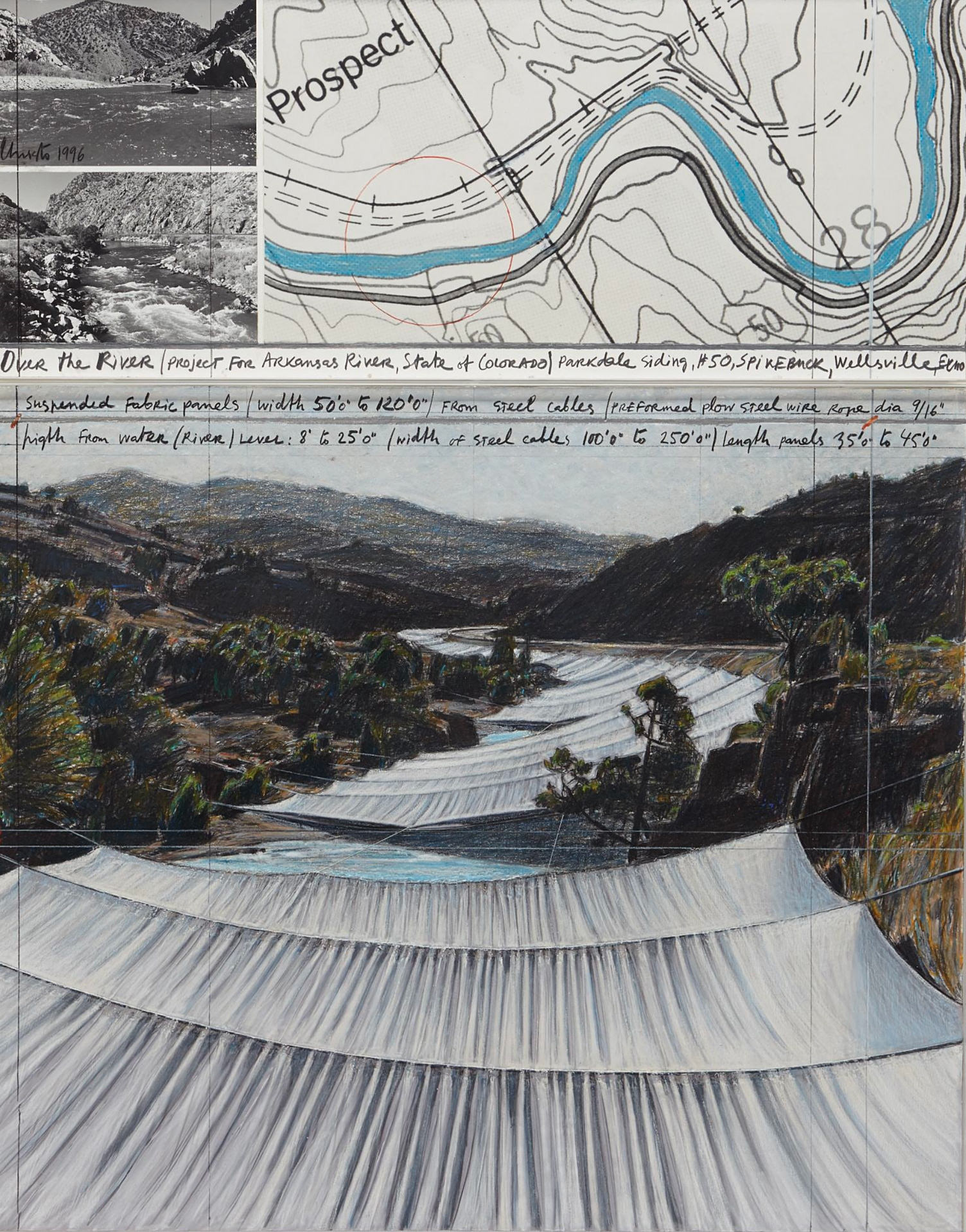 Christo. Over the River, Project for Arkansas River, State of Colorado, Parkdale Siding #42