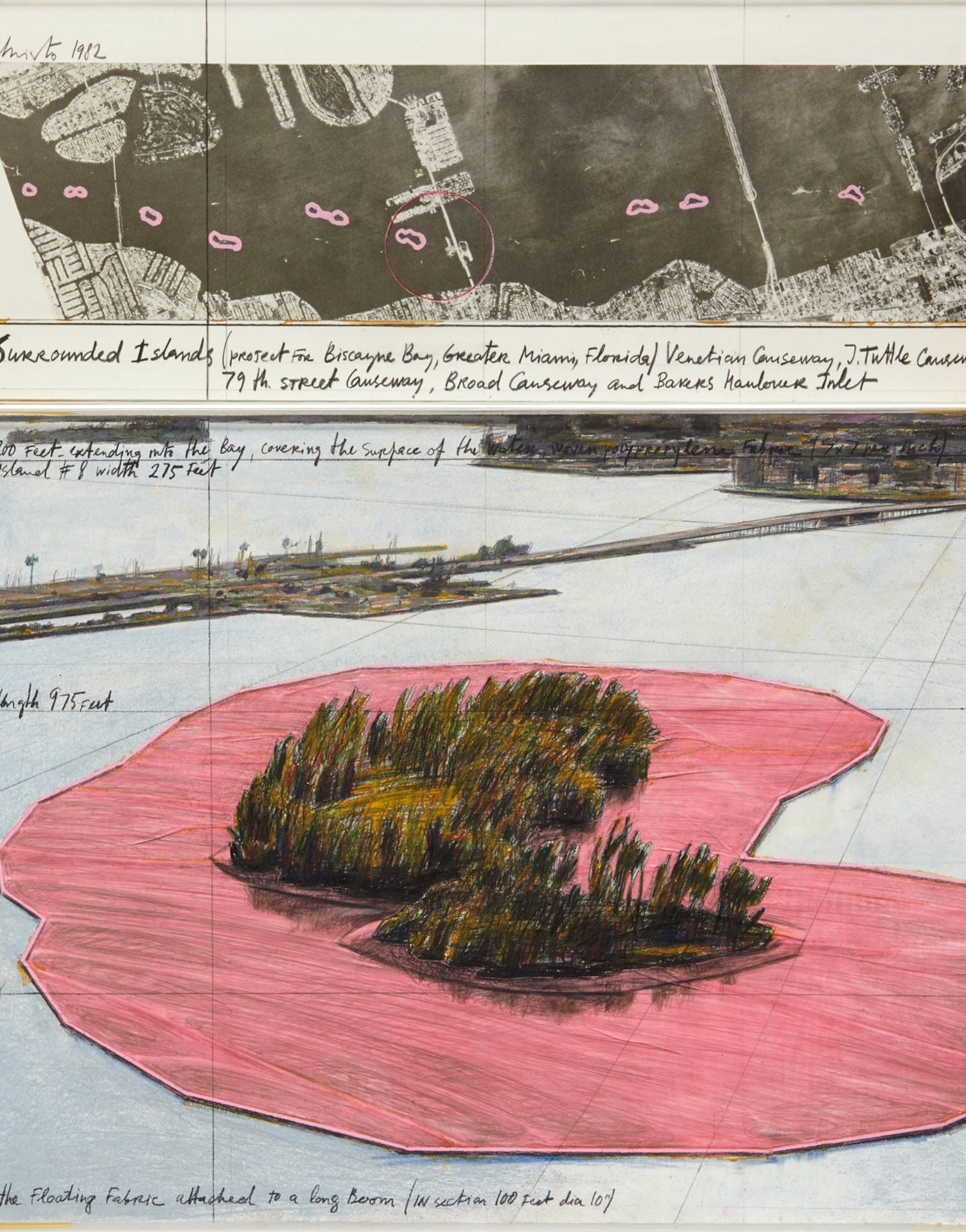 Christo. Surrounded Islands, Project for Biscayne Bay, Greater Miami, Florida, 1982v