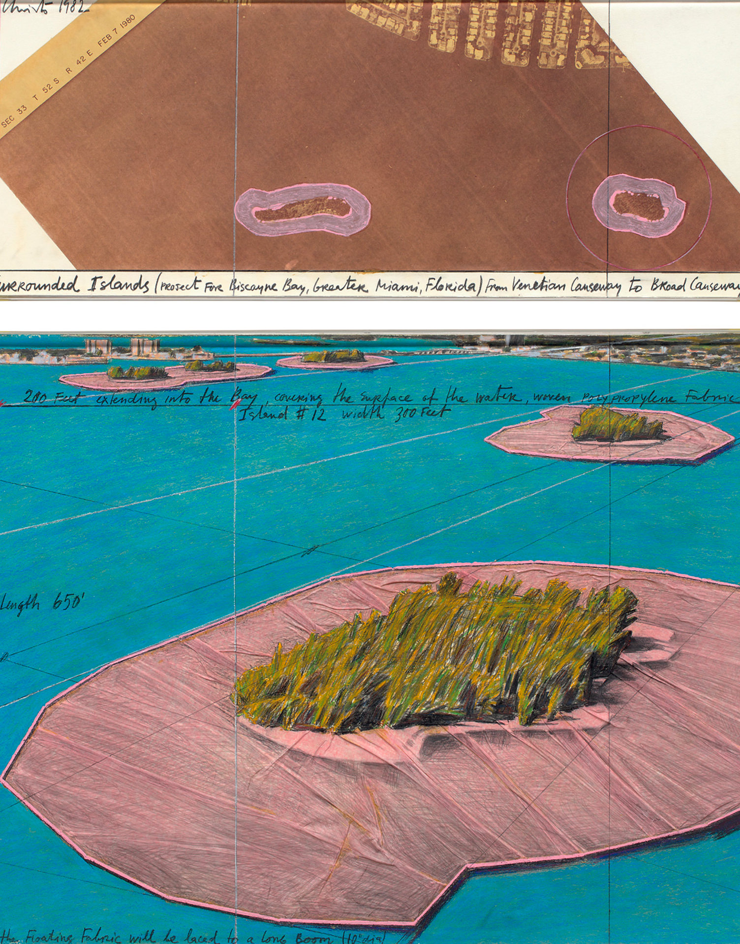Christo. Surrounded Islands, Project for Biscayne Bay, Greater Miami, Florida, 1982