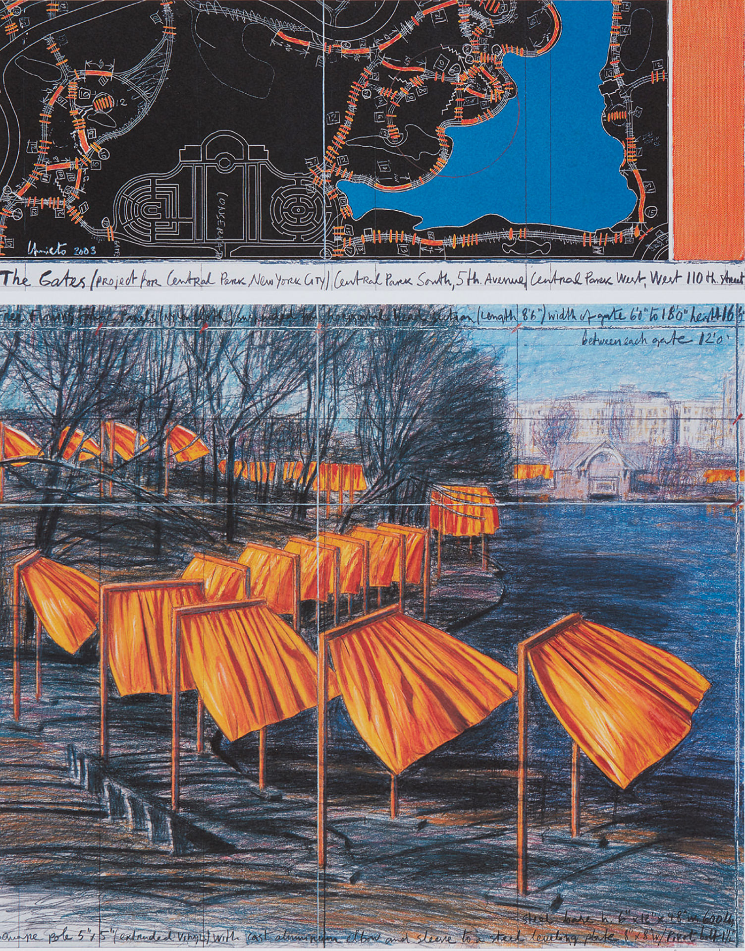Christo. The Gates, Project for Central Park, VIII, New York City, 2003