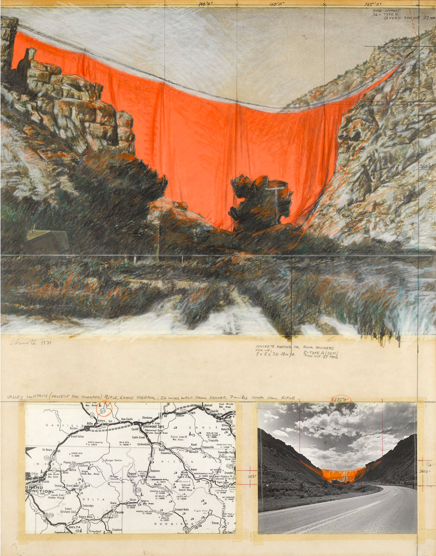 Christo. Valley Curtain, Project for Colorado, Rifle, Grand Hogback (1971)