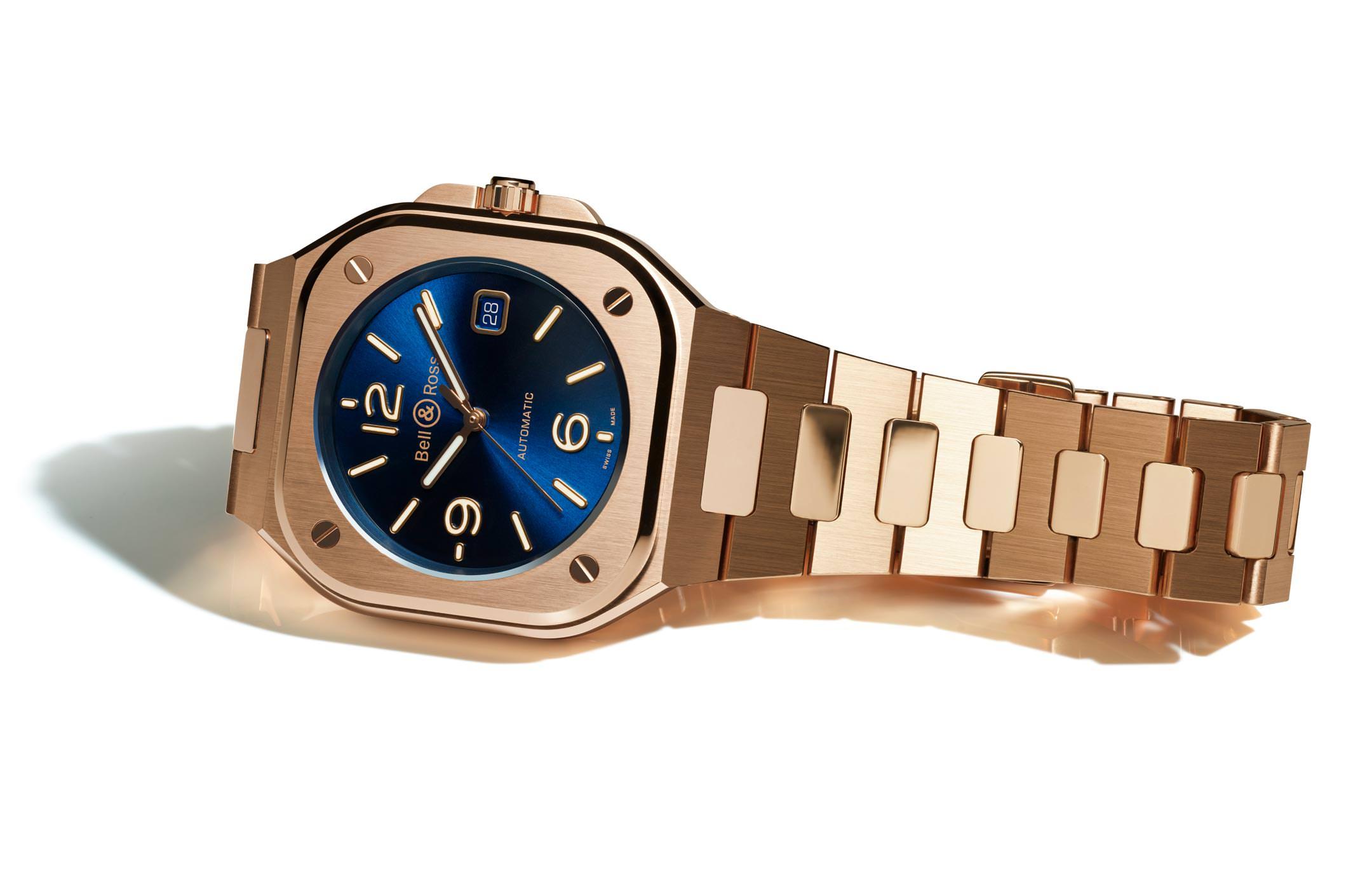 Bell & Ross Nouveaux Modèles BR05 Automatic Gold & Blue, Gold Bracelet