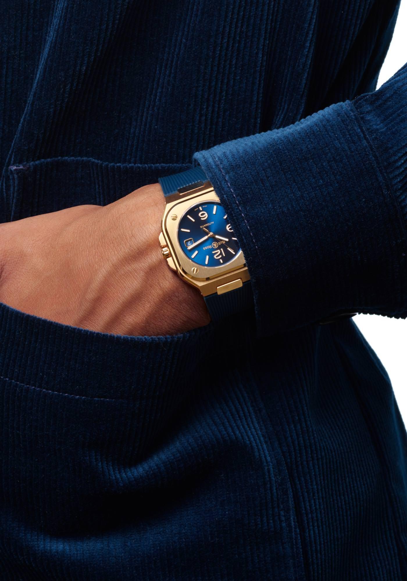 Bell & Ross Nouveaux Modèles BR05 Automatic Gold Blue Rubber