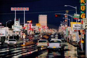 Ernst Haas Photographie, Route 66, Albuquerque, New-Mexico, USA, 1969
